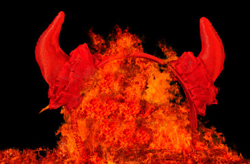 Devil party horns in fire plames, temptation or sin concept.