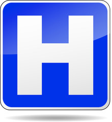 blue hospital sign