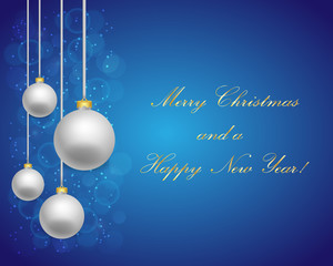 Blue Christmas background with grey balls