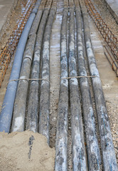 underground pipes corrugated for optical fiber and power cables