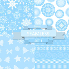 Abstract Beauty Christmas and New Year Seamlss Pattern Set