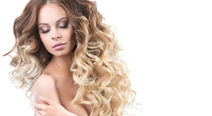 Portrait girl with luxuriant hair curling. Health and Beauty.