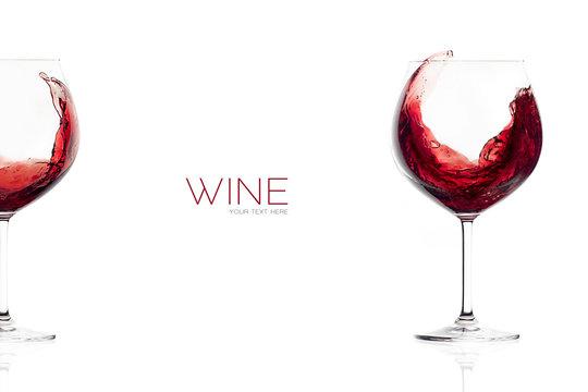 Red Wine in a Balloon Glass. Splash