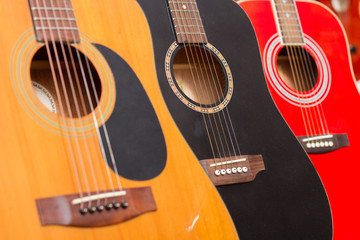 Close-up of guitars in a music shop