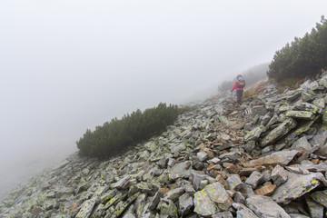 Fototapete - Backpacker walking mountain slope in fog. Pirin, Bulgaria.