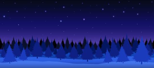 Seamless vector illustration. Night winter forest