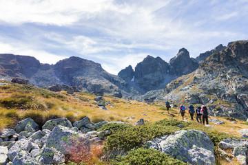Fototapete - Group backpackers walking mountains. Rila range, Bulgaria.