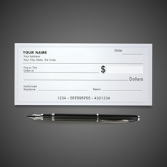 blank bank check template and pen