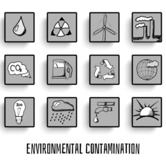 pollution set of vector icons of thumbnails