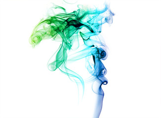colored smoke on a white background