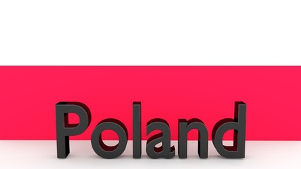 Writing Poland in front of a polish flag