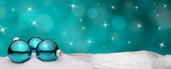 Christmas background - Christmas Ornament turquoise - Snow