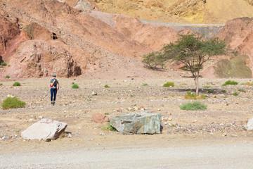 Woman tourist standing next desert tree
