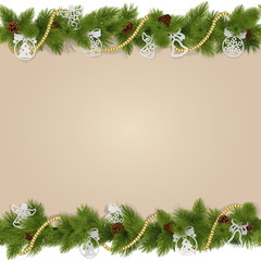 Vector Christmas Background with Decorations