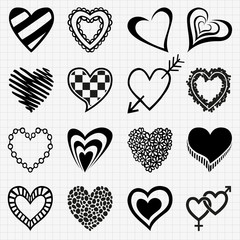 Hand drawn set of heart icons