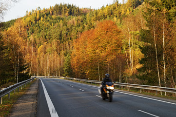Asphalt road in the autumn landscape with a ride motorcycle Wall mural