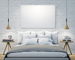 blank poster on the wall of bedroom, mock up background