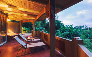 Romantic Deck on Tropical Home at Sunset