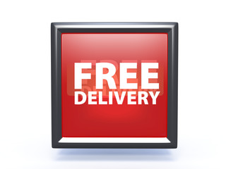 Free delivery square icon on white background