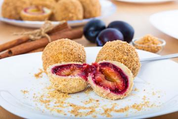 Delicious sweet plum dumplings