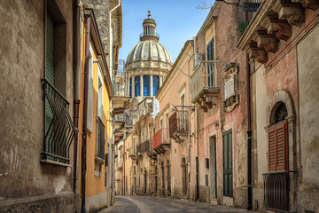 Narrow scenic street in Ragusa, Sicily, Italy