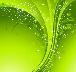Green Christmas banner with snowflakes