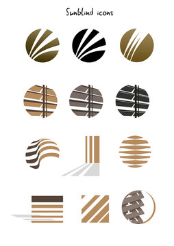 Collection of louvre icons, concept, illustration isolated
