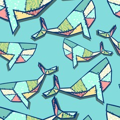 patchwork pattern whale
