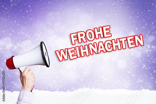 Megafon mit Frohe Weihnachten Nachricht\