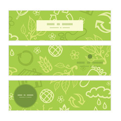 Vector environmental horizontal banners set pattern background