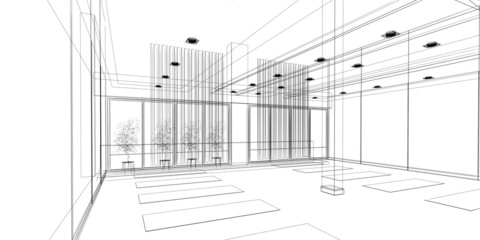 abstract sketch design of interior yoga room