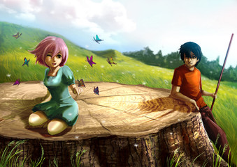 A girl is playing with butterflies on a giant stump with her boy