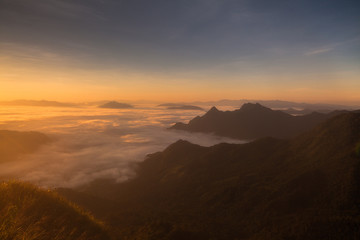 Printed roller blinds Sunset mountains under mist in the morning in Phuchifa chiang rai,Thail