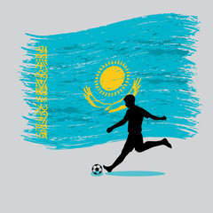 Soccer Player action with Republic of Kazakhstan flag on backgro