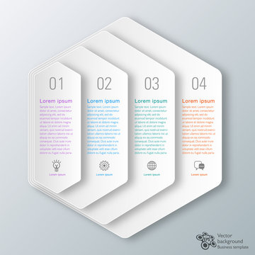 Infographics Vector Background 4-Step Process Hexagon