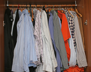 Cabinet with dresses and shirts hanging from the coat rack