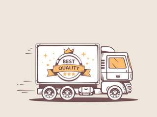 Vector illustration of truck free and fast delivery of best qual