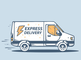 Vector illustration of van express delivery of goods to customer