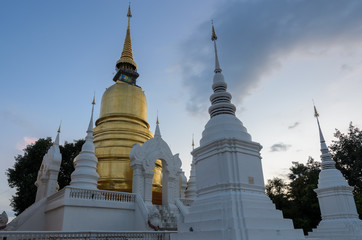 Wat Suan Dok at twilight in Chiang Mai, Thailand