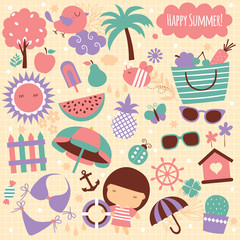 summer season clip art elements