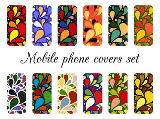 Set of 12 retro varicolored mobile phone covers.