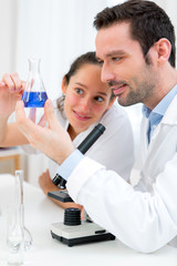 Scientists working together in a laboratory