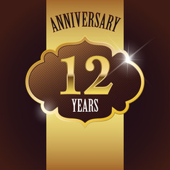 12 Years Anniversary, Golden Design Template /Background / Seal