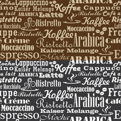 Coffee words seamless pattern B