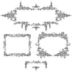 Set frames black calligraphy pattern