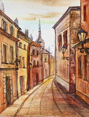 Watercolor painting: old town