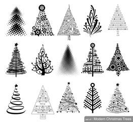 Set of modern Christmas Trees.