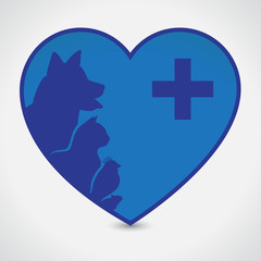 Cat and Dog. Heart