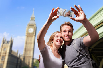 happy couple selfie in london
