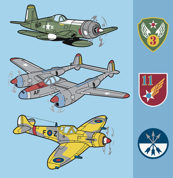 Vintage war fighter planes set 2